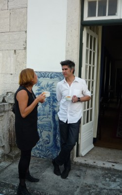 Liliana Albertazzi from Intramuros with Day 1 Conference speaker Alejandro Aravena at Palacio da Mitra