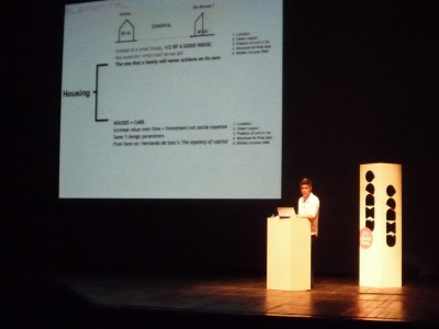 Alejandro Aravena presenting at the Lisbon Conference