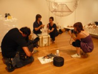"Susana Soares preparing her project ""Am I attractive?"" for the Lapse in Time exhibition"
